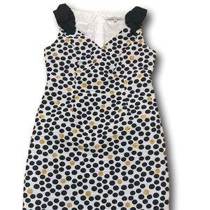 CARMEN MARC VOLVO Navy & Gold Dot White Dress 10